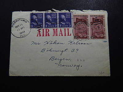 Cover Air Mail United States Rockford to Bergen Norway Norvege 1948