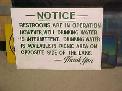 1940-50s   PICNIC AREA  WOODEN SIGN  -  DRINKING WATER - LAKE RECREATION