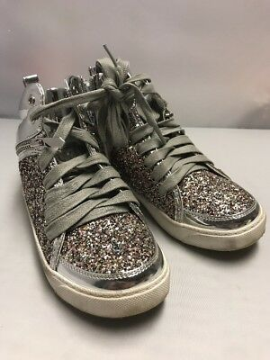 362fe2a93ff8 Sam Edelman Britt Remy Glitter High Top Sneaker Sz 1 Little Girls White  Silver