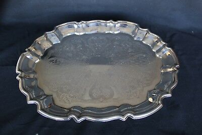 Antique EALES 1779 SILVERPLATE Etched OVAL FOOTED SERVING Tray SCALLOP Edge