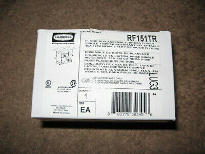 """ New in Box "" Hubbell Drop In Floor Box Tamper Resistant Brass Cover RF151TR"