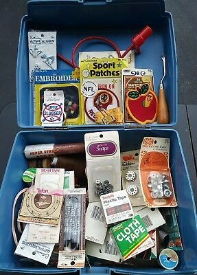SEWING NOTIONS BUTTONS PATCHES Huge Vintage Mixed LOT Assorted