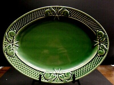 "Bordallo Pinheiro Portugal Green  Rabbit Large  Platter 15 1/2""   Euc"