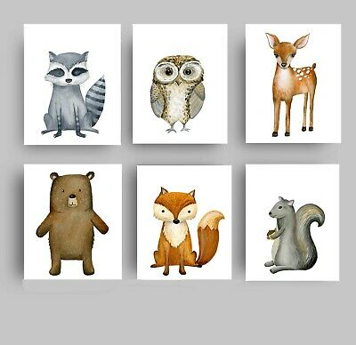 Woodland Forest Animals Wall Art Prints for Girls Nursery, Bedroom, or Playroom