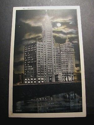 Old Postcards Wrigley Building at Night, Chicago, Ill. PJ6