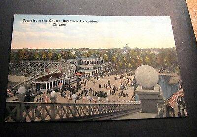 Old Postcards Scene from t/Chutes, Riverview Expostion, Chicago  PJ6