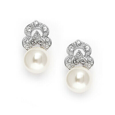 9d16b18a9 Mariell Ivory Pearl & CZ Bridal Clip Earrings, Platinum Plated Wedding  Jewelry