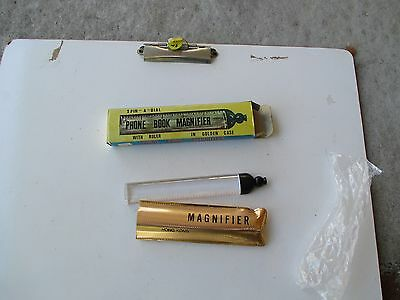 Vintage Plastic Phone Book Magnifier With Rule In Golden Case