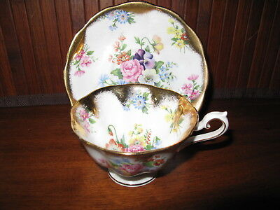 Royal Albert Tea Cup & Saucer Gold Encrusted Rose Pensy RARE