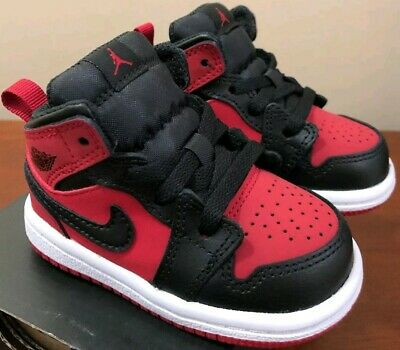 save off 2201f 4e6d6 Nike Air Jordan 1 Mid TD Size 5c Black and Red 640735-610 with Free