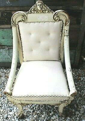Vtg Antique Victorian 1800s - 1990s Wood Carved Girl Figural (Jeliff?) Arm Chair