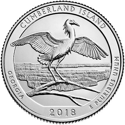 "2018 Cumberland Island Georgia ""atb"" National Park Quarter P+D 2-Coin Set Uncirc"