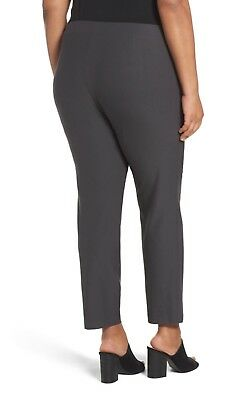 EILEEN FISHER Slim Washable Stretch Crepe Ankle Pants, Graphite Large
