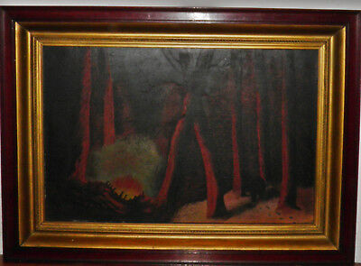 Oil Painting Upstate Ny House Man Working Saw 1855-1920 Emma Lampert Cooper