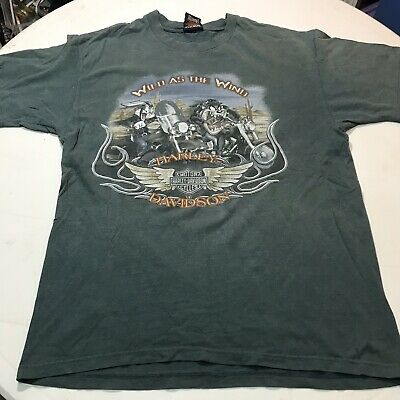 085423373 Harley Davidson T-shirt Green Shirt Graphic Looney Tune Character Size Large