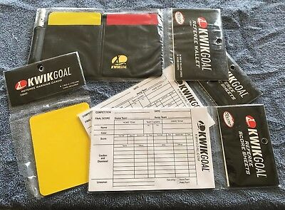 fcada4cc04e Kwik Goal Soccer Referee Package - Wallet - Score Sheets - Yellow Red Cards  -New
