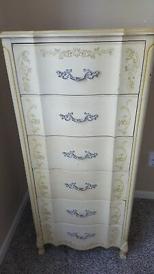 Gorgeous Henry Link Antique French Provincial 1900's Tall Floral Dresser Vanity