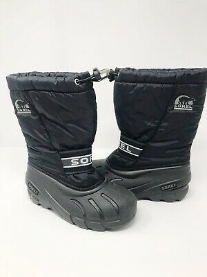 fdcffe554be1 NEW Sorel Cub Black Snow Winter Boots Youth Big Kids NY1799-011 Size 2