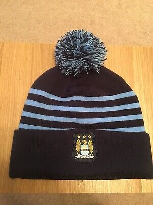 MANCHESTER CITY FC BOBBLE KNITTED HAT - Genuine Item