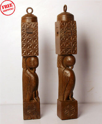 2 Pcs Old Hand Crafted Wooden Shape Parrot Engraved Bed Piller Collectible 270