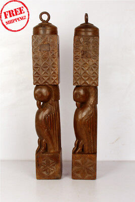 2 Pcs Old Hand Crafted Wooden Shape Parrot Engraved Bed Piller Collectible 306