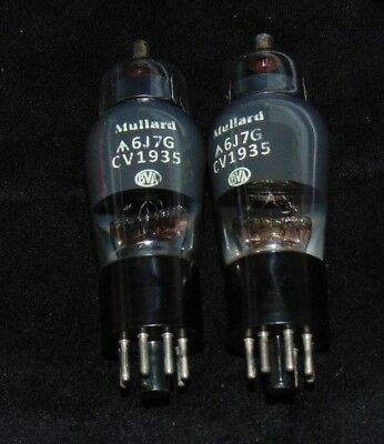Rare Mullard  Matched Pair CV1935 6J7G England 1950 = WESTERN ELECTRIC 348-A 6J7