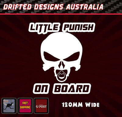 Little Punish On Board - baby on Board White Funny Decal