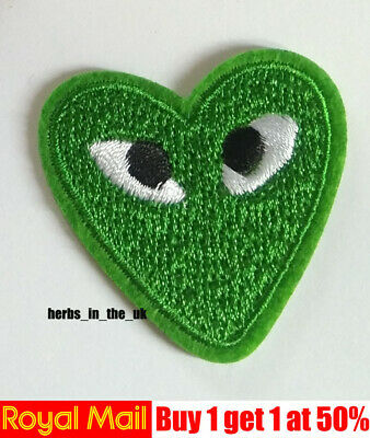 Comme Des Garcons CDG Play Green Heart Embroidery Applique Patch Sew Iron Badge