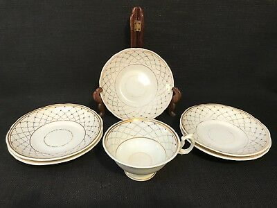 Antique Set Of 5 Saucers & 1 Cup, White With Blue & Gold Pattern, C.1840