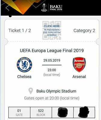 2 Ticket Biglietti Europa League Finale Final Baku Cat 2 Free Arsenal Chelsea