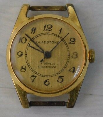 Vintage Collectible Swiss Mechanical Men's Wristwatch GLADSTONE Gilded 17 Jewels