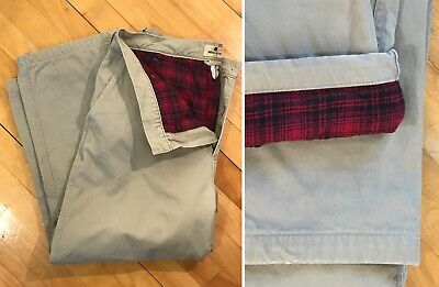 WOOLRICH Vintage Wool Lined Pants Buffalo Plaid Red Flannel Khakis Size 34/28 S