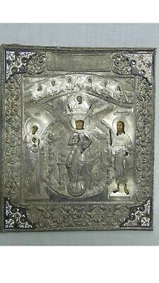 Magnificent 19th Century Russian Extremely Rare Silvered Bronze Enamel Icon