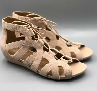 ce430f3851ee ... Suede Leather Lace Up Cage Gladiator Wedge Sandals Sz 9.  46.75 Buy It  Now 17d 13h. See Details. NEW Clarks