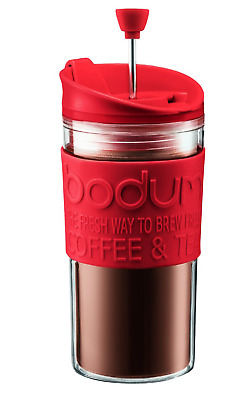 BODUM Double Wall Travel Press Kit -Coffee Maker- 350 ML - Red + Extra Lid
