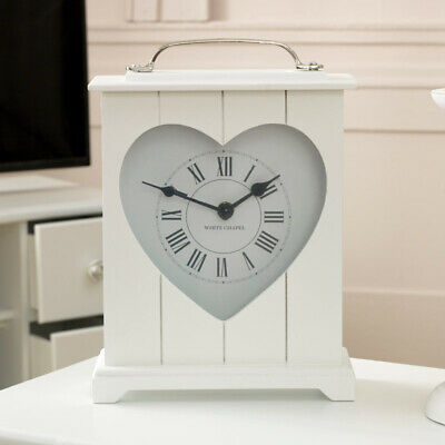 White heart mantel clock country vintage home decor accessory shelf display gift