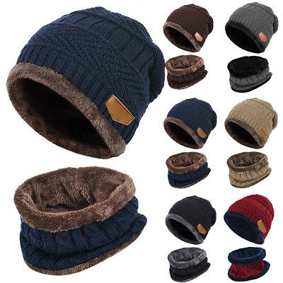 Kids Boys Girls Winter Warm Knit Hat and Scarf Set Beanie Cap Scarf Ski Thick AU