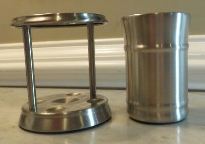 Bathroom Toothbrush Holder (Better Homes) & Cup (Canopy) Brushed Finish - Silver