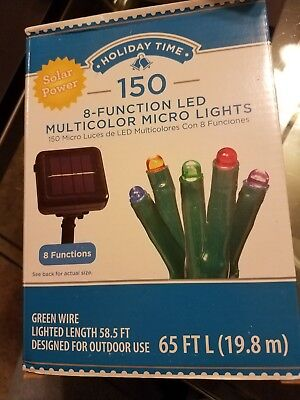 New Holiday Time 150 8-Function Solar Power LED Micro Lights, Multicolor