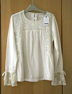Next Girls Gorgeous Cream Lace Detail Top Age 11 Years BNWT Tag £17
