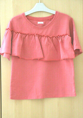 Next Girls Coral Pink Ruffle Top Age 10 Years BNWT