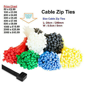 Cable Ties Tie Wraps Nylon Zip Ties Strong Extra Long All Sizes Colours 240 mm