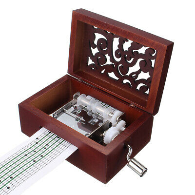 15 Tone DIY Hand Cranked Carved Music Box Classic Box With Hole Puncher 30 Pcs P
