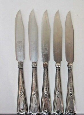* Five Antique Nsc Sterling Silver Handles Stainless Small Butter Knives     Yyy