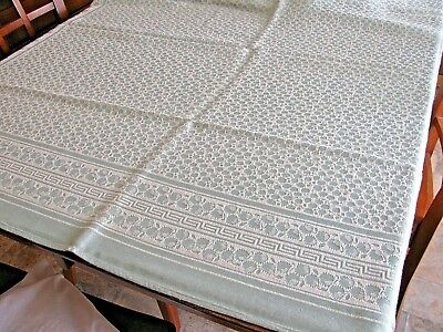 """Vintage 51""""x 52"""" Green White Damask Tablecloth Greek Key & Floral EXC Condition"""