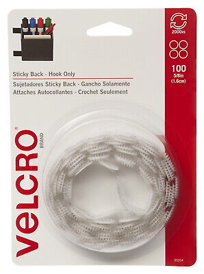 VELCRO Brand Hook Only Sticky Back Coins, 5/8 Inch, White, Pack of 100
