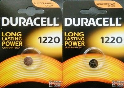 2x Duracell CR1220 3V Lithium Button Battery Coin Cell DL1220 FREE P&P UK