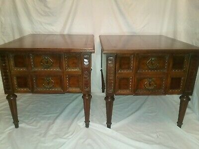 Vtg Pair 2 AMERICAN MARTINSVILLE French Italian Regency End Tables Side Cabinets