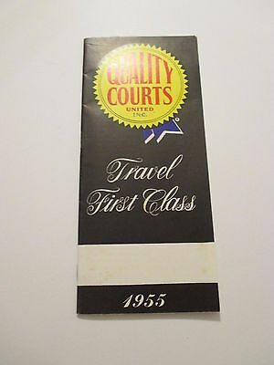 Vintage 1955 QUALITY COURTS Travel First Class Hotel Motel Brochure Booklet Map