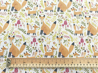 Polycotton Fabric Craft MUSHROOM FLORAL FOX  Metre Material Special Offer
